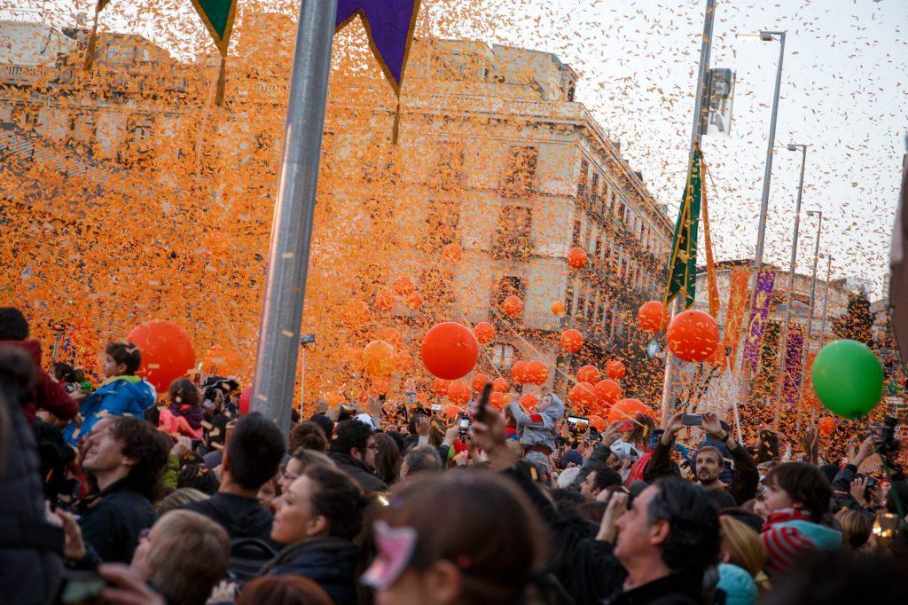Апельсиновая битва в Барселоне 2015