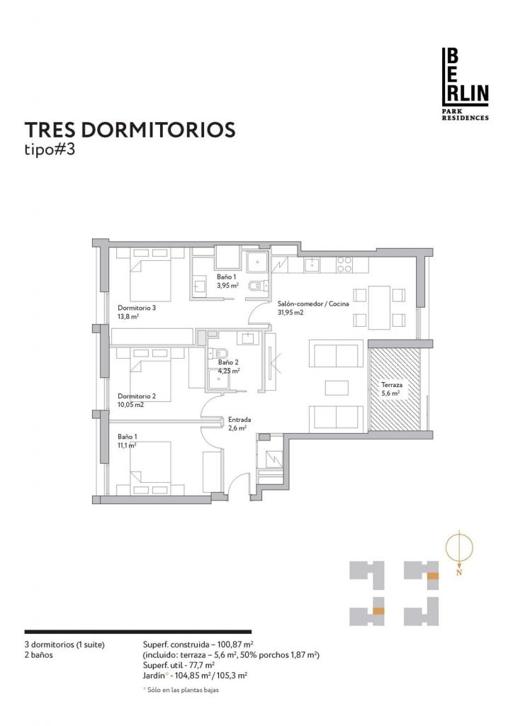 Typical apartments layout. Type 3.