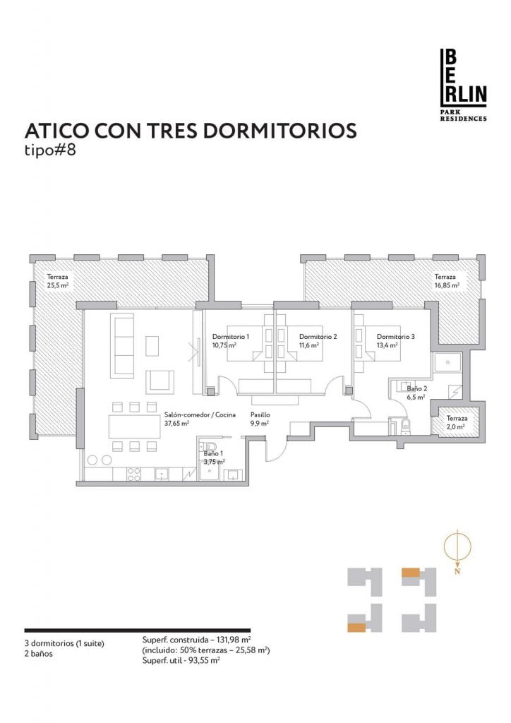 Typical apartments layout. Type 1.