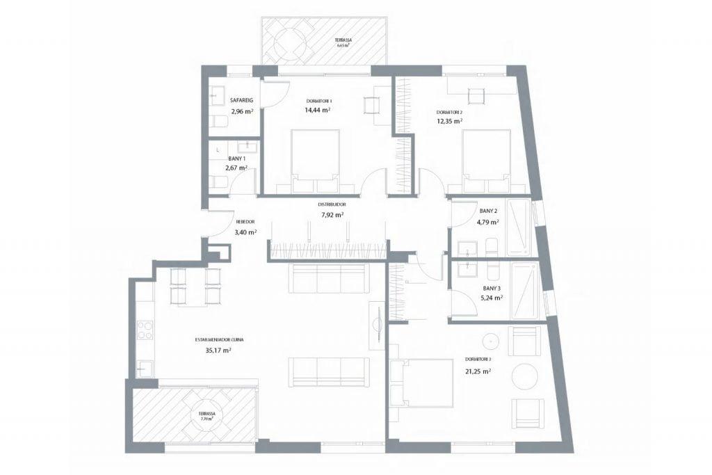 Apartament de 3 dormitoris en edifici residencial d'obra nova, Platja d'Aro, Costa Brava.