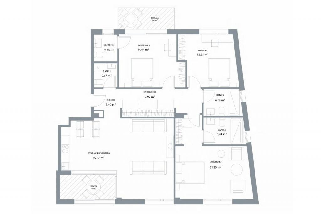 3-bedroom apartment in a new residential building, Playa de Aro, Costa Brava, Spain.